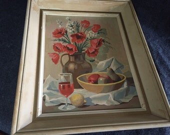 Vintage paint-by-number still life flowers and wine glass