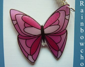 Pendant Butterfly pink resin