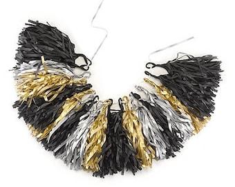 DIY Glam it Up Tassel Garland {Black, Gold and Silver} | Wedding Decorations | Bridal Shower Decorations