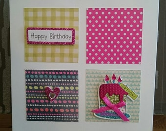 Happy Birthday - Patchwork Squares with Birthday Cake