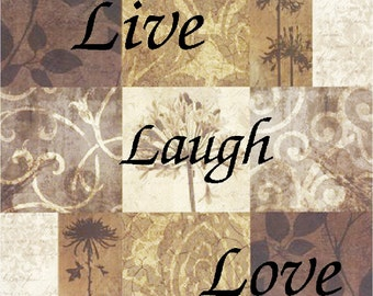 Live Laugh Love Brown Nine Patch  Coasters  Home Decor    Set of 4  US Free Shipping