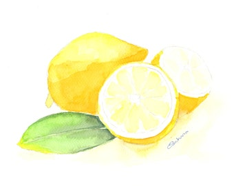 Lemons are a fine art kitchen giclee print taken from an original watercolour painting