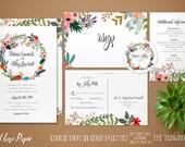 Printable Wedding Invitation, DIY Wedding Invitation Kit, Wreath Wedding Invitation, Rustic Wedding Invitation, Boho Wedding Invitation