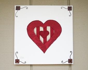 Hearts #3 Fabric Wall Art