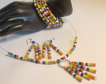 Seed Bead Necklace Set Glass Seed Bead Necklace Set Multi Color Seed Bead Bracelet Multi Color Seed Bead Necklace Set Boho Seed Necklace Set