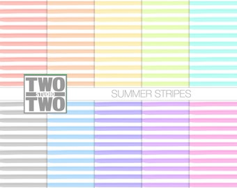 "Striped Digital Paper: ""SUMMER STRIPES"" Hand Painted Patterns in Pink, Yellow, Orange, Blue, Green, Gray, and Purple, Watercolor Background"