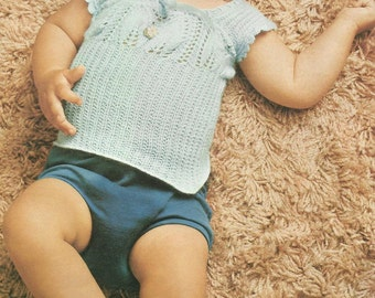 PDF Three Baby Vest Singlet Tops, 3Ply, 0-3m, Knitting Pattern
