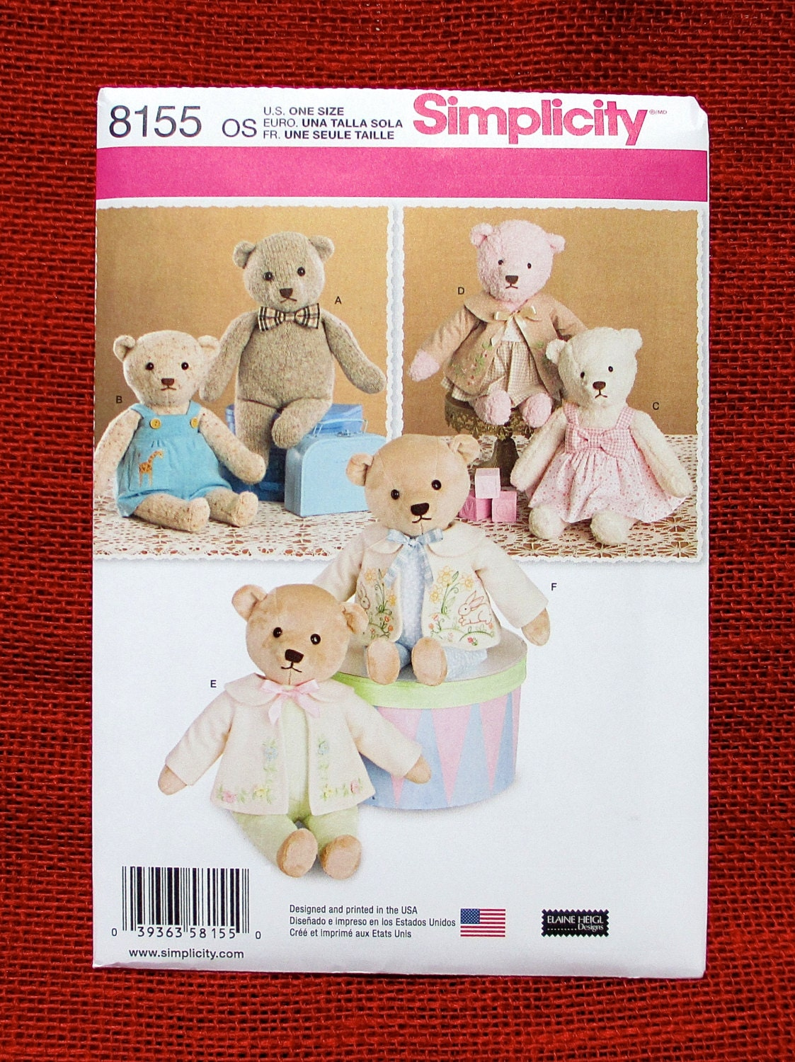 Simplicity Sewing Pattern 8155 Teddy Bears by ...