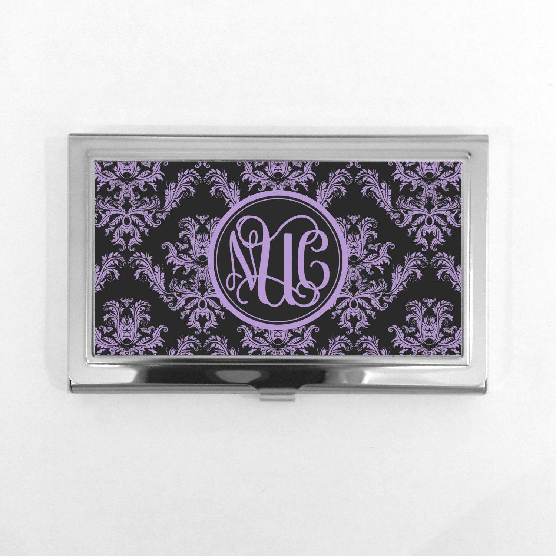 Monogram business card holder damask elegant monogram purple black monogram business card holder damask elegant monogram purple black personalized business card holder colourmoves