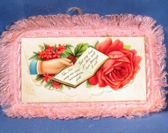 Vintage Pink Fringed New Years Calling Card 1910