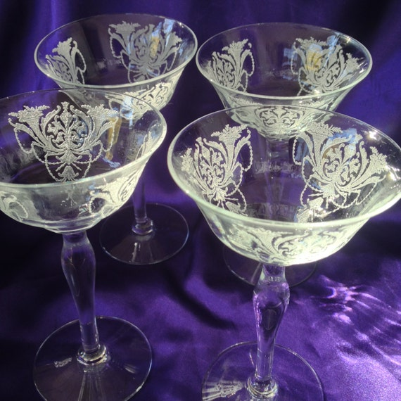 Etched Crystal Champagne Saucers Morgantown Milan Pattern