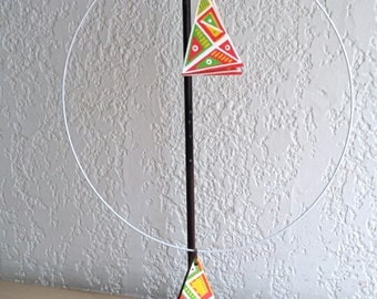 triangle ornament white green yellow red wood