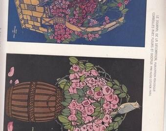 """Art Nouveau Baskets W Beautiful Flowers And Birdss 1911 Print,Le Journal de la Decoration,10"""" X 14"""""""