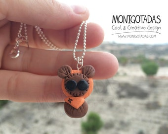 Ewok Miniature / Ewok necklace (inspired)