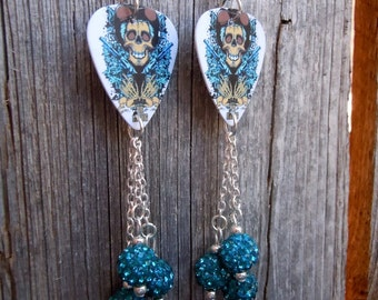 Cowboy Skull with Guns Guitar Pick Earrings with Teal Pave  Beads
