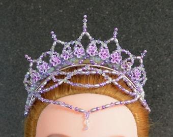 Ballet Headpiece. Lilac Fairy. Swarovski crystal & glass bead crown.