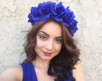 Blue Rose Headband - Blue Floral Headband - Hair Wreath - Flower Crown - OOAK Headband - Festivals - Hippie - Halloween
