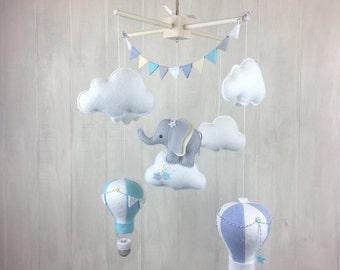 Baby mobile - elephant mobile - hot air balloon mobile - gender neutral - cloud mobile - nursery decor - travel nursery