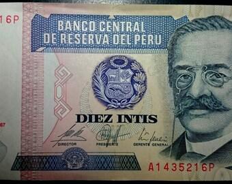 Vintage Uncirculated Banco Central De Reserva Del Peru Diez Intis Banknote Very Crisp Antique  Banknote Currency