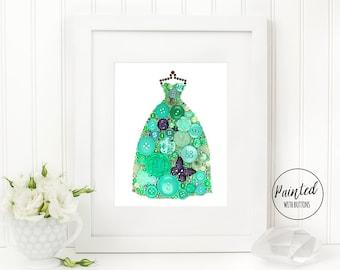 Button Art PRINT Seafoam Green Gown, Ball Gown Wall Art, Fashion Print, Seafoam Green Dress Fashion Art Print, Free Shipping