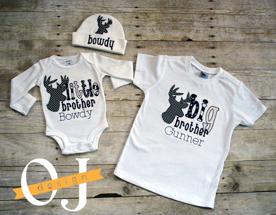 Big Brother Little Brother Deer Personalized Baby Boy Newborn