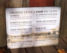 Mother's Day Gift - Custom Photo Growing Up On A Farm Values Wood Sign - Christmas Gift, FFA, Farming, Father's Day, Farm Family