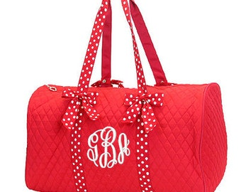 """Personalized Quilted Duffle with Bows - Large 21"""" Red and White Duffel Bag with Polka Dot accents - QSD2701-RDWH"""