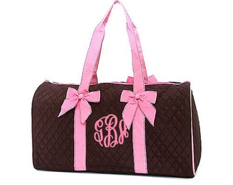 "Pesonalized Quilted Duffel with Detachable Bows - Large 21"" Brown Duffle Bag with Pink Accents - QS703-BRPK"