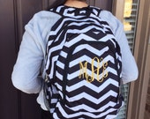 Many colors - Chevron Backpack, Monogrammed backpack, Gray Backpack, Pink Backpack, Girl Backpack, Personalized Backpack, Back to School