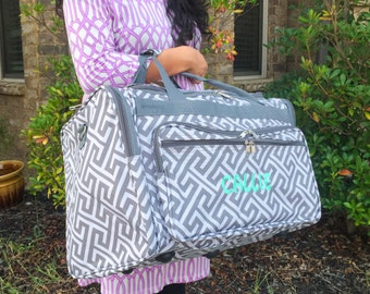 Gray Duffle Bag, Greek Key Duffle Bag, Women Duffel Bag, Women Overnight Bag, Gray Overnight Bag, Monogrammed Luggage, Bridesmaid Gifts