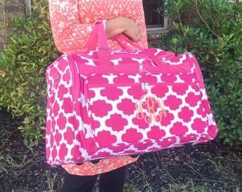 4 Colors, Monogrammed Quatrefoil DUFFLE Bag, Aqua Overnight Bag, Airline Carry On, Gym Bag, Travel Bag, Women Duffle Bag, Girl Overnight Bag