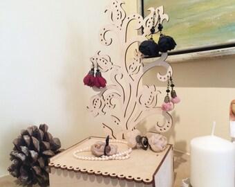 Arbre personnalisé bijoux en bois / wooden boîte de rangement de bijoux / boite en bois / organisateur de bijoux / bijoux stand