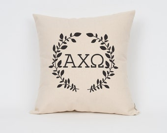 alpha chi omega wreath pillow choose your ink color greek letter pillows sorority pillow big little gift sorority letters