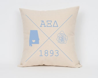 alpha xi delta icons custom pillow sorority pillow greek letter pillow sorority gift big little gift bid day gift initiation gift
