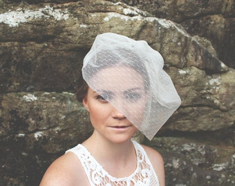 Short Veil, Birdcage Veil, Dotted Headpiece, Tulle Veil Blusher, Wedding Short Veil, Bridal Veil, Dotted Veil, Blusher Veil- Style 201- Aria
