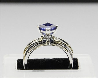 legend of zelda two tone triforce princess cut 1ct simulated blue sapphire sterling silver engagement ring - Zelda Wedding Ring
