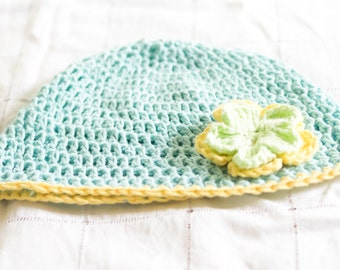 Blue and Yellow Crochet Hat