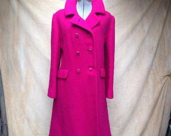 Vintage Magenta Wool Coat Women's Medium Double Breasted, 1960s Bromleigh Formal Dress Coat