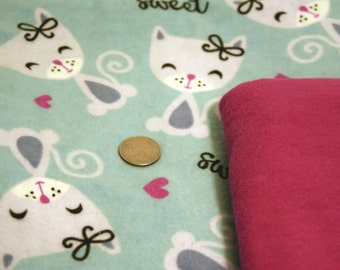 PRICES REDUCED! ~ Sweet Cat Themed Baby Blanket ~ Large 40 x 40 Flannel Blanket with Gift Bundle Options * Store Closing Sale! *