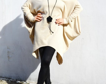 Asymmetrical Loose Sweater/ Raglan Tunic / Knit Cotton Sweater /Casual Top ZM192