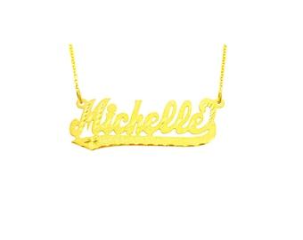 """14YLee322D3 - 14K Gold 1.75"""" Diamond Cut Script LetterTail Name Necklace"""