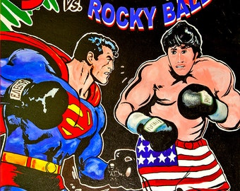 Cartoon Superman vs Rocky Balboa (12x14)