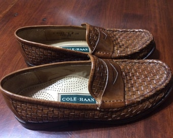Vintage Cole Haan Leather Woven Loafers Womens Size 6 Shoes Leather Shoes Leather Loafers Cole Haan Loafers Womens Cole Haan Shoes Slip Ons