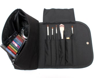 Black Obessed Large Makeup Bag with a Brush Holder Roll! - Free Shipping to Australia