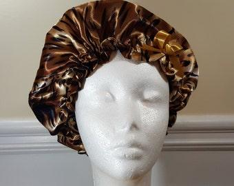 Leopard Print Single Side Bonnet - Girls