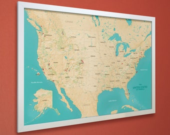 Push Pin Maps For The Modern Adventurer By MapRepublic On Etsy - Us map picture frame