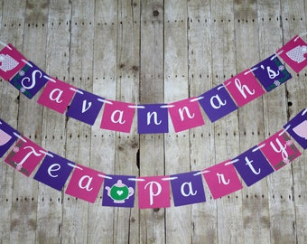 Tea Party Banner • Personalized Birthday Banner • Teapot Sign • Tea Party Decor • Tea Time Birthday • Bridal Shower Decor •  Princess Party