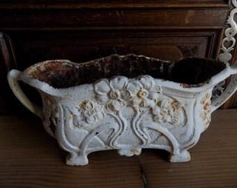 Exquis Art Nouveau, Français antique en fonte jardiniere, planteur de jardin