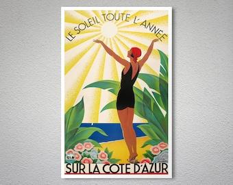 Le Soleil Toute L'Annee Sur La Cote d'Azur Travel Poster - Poster Print, Sticker or Canvas Print / Gift Idea