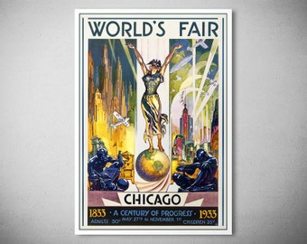 World's Fair Chicago, 1933 Travel Poster - Poster Print, Sticker or Canvas Print